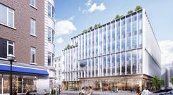 An artist's impression of the proposed redevelopment of 9-12 Dawson Street in Dublin city centre