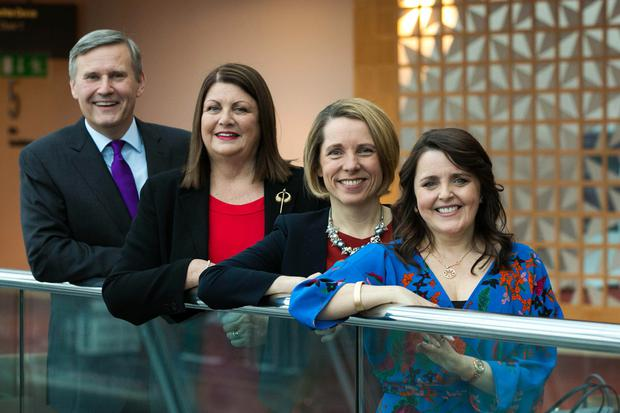 Accenture Ireland country managing director Alastair Blair; former Minister and EU Commissioner for Innovation Máire Geoghegan-Quinn; Bord Bia CEO Tara McCarthy and Dr Michelle Cullen as Accenture publishes a study on women in the workplace