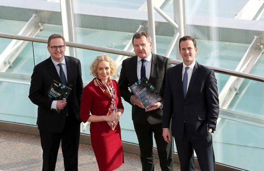 Michael Jackson, managing partner, Matheson; Anne O'Leary, CEO, Vodafone Ireland; Danny McCoy, CEO, Ibec; and Conor McClafferty, partner, MERC Partners, launch the Ibec Business Leaders Conference 2018 which takes place at the Convention Centre Dublin on March 27. Photo: Gary O' Neill
