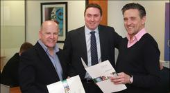 Sean Gallagher with John Molloy and Stephen Byrne from Orca Financial. Photo: David Conachy