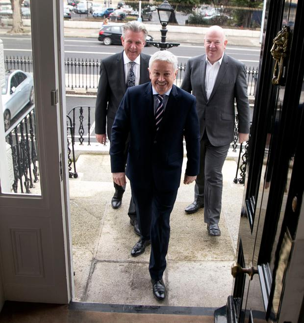 Billy Kane, managing director of Finance Ireland; Frank Donnellan, managing director of First Auto Finance, the car finance subsidiary of Finance Ireland; and Jim Hickey, chief operating officer, Finance Ireland, in Dublin yesterday. Photo: Colm Mahady / Fennells
