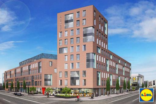 An artist's impression of the student accommodation at the proposed North Quarter in Ballymun