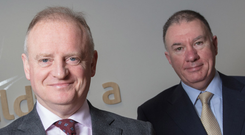 Ornua CEO Kevin Lane, and Chairman Aaron Forde announce the company's 2017 results Photo: Patrick Bolger