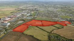 An aerial view of the lands at Collinstown and Easton in Kildare