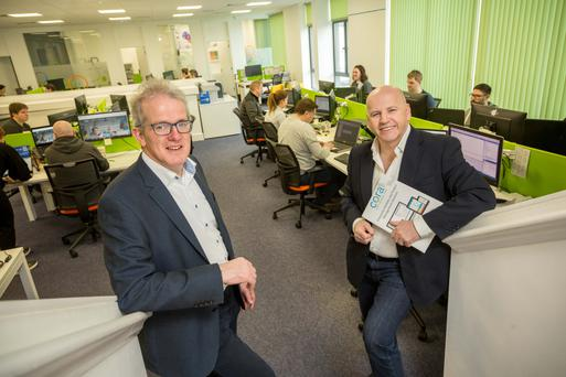 Sean Gallagher with Philip Martin, CEO of Cora Systems. Photo: James Connolly