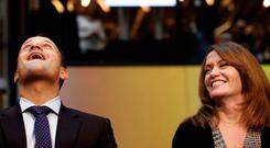 Taoiseach Leo Varadkar and Microsoft executive vice president Peggy Johnson at the opening of Microsoft's €134m campus, One Microsoft Place, in Dublin last month. Photo: Gerry Mooney