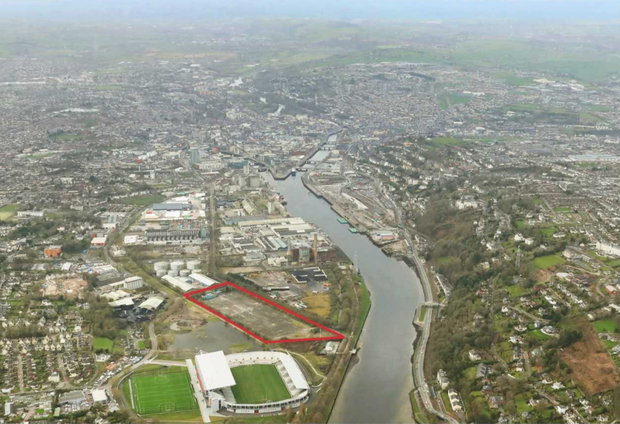 An aerial view of the former Ford distribution site in Cork's South Docklands
