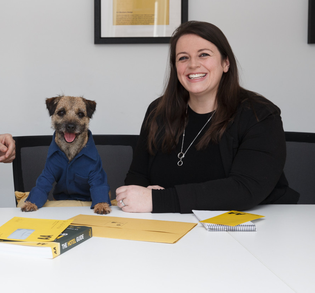 AA Ireland's head of marketing Laura Conlon-McKenna with Mulligan, the star of its next television campaign
