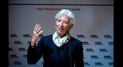 International Monetary Fund chief Christine Lagarde warned against protectionist policies and talk of trade war in a speech to the Asia Global Institute at the University of Hong Kong. Photo: Isaac Lawrence/AFP-Getty Images