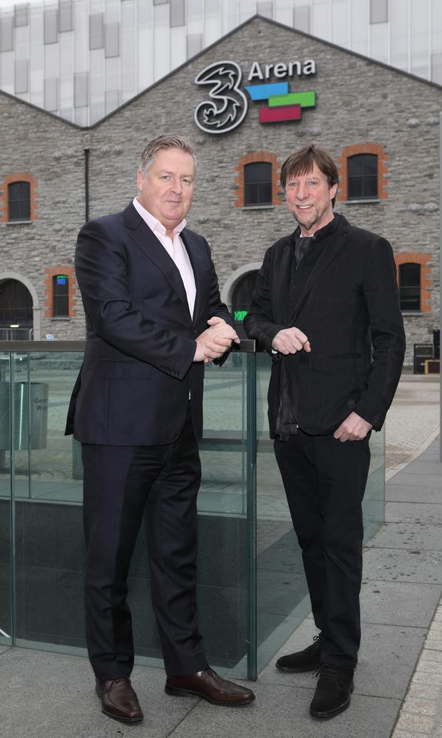 Three Ireland CEO Robert Finnegan, left, and 3Arena and Live Nation Ireland CEO Mike Adamson, announcing Three Ireland's extension of its sponsorship. Photo: Brian McEvoy Photography