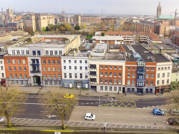 An aerial view of the of the Merchants Quay portfolio