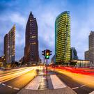 Potsdamer Platz, the financial district of Berlin in Germany – business confidence in the country fell for a fifth consecutive month in April to reach the lowest level in more than a year