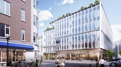 An artist's impression of the proposed redevelopment of 9-12 Dawson Street, the current headquarters of New Ireland Assurance