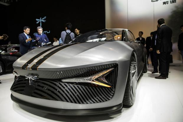 The Qiantu Motor Concept 1 electric vehicle stands on display at the Beijing International Automotive Exhibition in Beijing, China. Photo: Bloomberg
