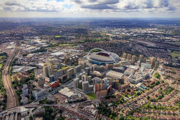 An aerial view of Quintain's €3.4bn Wembley Park development in London