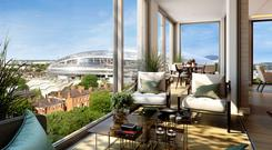 The view from the penthouse level of Lansdowne Place, which is currently being developed by Chartered Land in Ballsbridge, Dublin 4