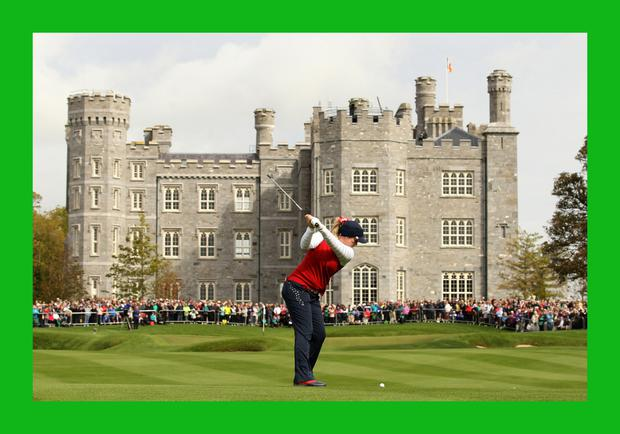 Brittany Lincicome of the USA hits an approach shot on day one of the 2011 Solheim Cup at Killeen Castle Golf Club