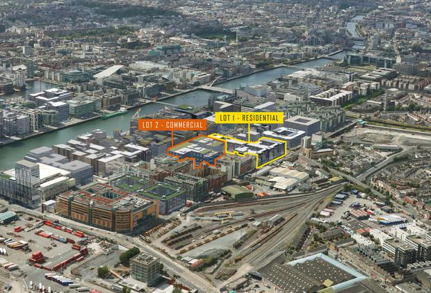 An aerial view of the CB3 site, one of the last prime development sites in Dublin's Docklands