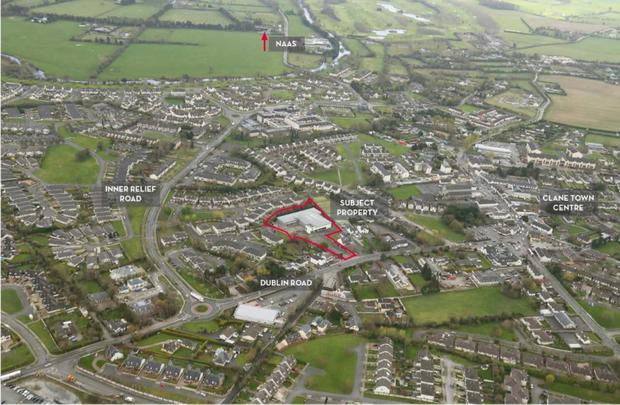 An aerial view of the Clane property and its surrounding site