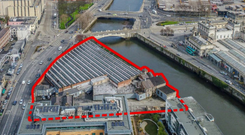 An aerial view of the landmark Hickeys site on Parkgate Street in Dublin 8, close to Heuston Station