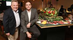 MarketPlace MD Noel Keely at its tasting event in Medley with former rugby international and bar owner Jamie Heaslip. Photo: Photocall Ireland
