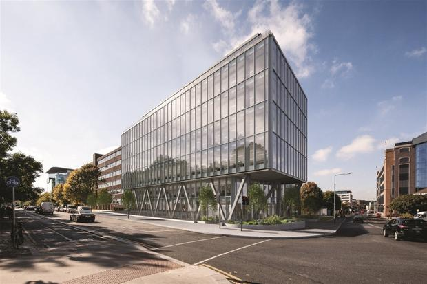 Irish Life has voiced concerns that Hibernia Reit's plan to extend Marine House, far left, could encroach on the Velasco Building, Google's newest home in the capital, which it owns