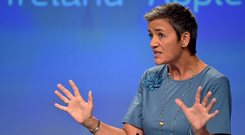 Commissioner Margrethe Vestager at a news conference on Ireland's tax dealings with Apple at the EC in 2016. Photo: Reuters
