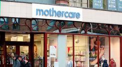 Shares in Mothercare were up 5.4 pence at 25.4 pence each by yesterday afternoon, valuing the business at £46m. Photo: PA