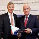 INM chief executive Michael Doorly and chairman Murdoch MacLennan at the company's AGM in Dublin. Photo: Steve Humphreys