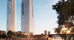 An artist's impression of the twin skyscrapers proposed for 400 Lake Shore Drive in Chicago