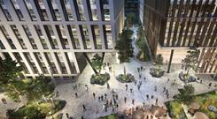 An artist's impression of the central plaza at Ballymore and Oxley's Dublin Landings scheme