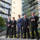 Pinergy CEO Enda Gunnell; Sean Twomey, Partner and Head of Property & Construction at Eugene F Collins; Jim Clery, Tax Partner and Head of Real Estate at KPMG; Paul Muldoon of INM; President of the DIT Professor Brian Norton