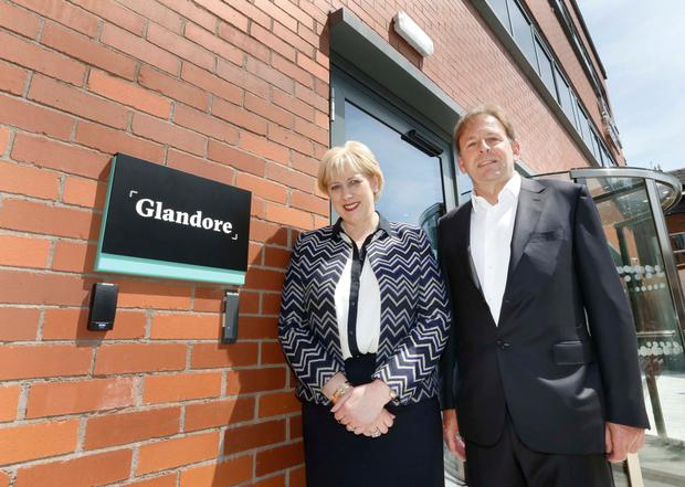 Minister Heather Humphreys, Minister for Business, Enterprise and Innovation, pictured with Glandore founder Michael Kelly. Photo: Photocall Ireland