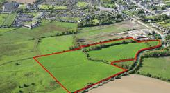 An aerial view of the land holding in Dunshaughlin, Co Meath