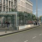 An artist's impression of how a MetroLink entrance in Dublin would look