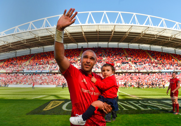 Simon Zebo with daughter Sofia after the Guinness PRO14 semi-final play-off tie between Munster and Edinburgh at Thomond Park