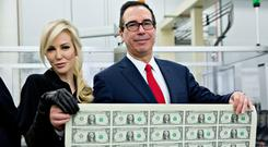 Steven Mnuchin, US Treasury Secretary – pictured with wife Louise Linton – is representing the United States at the G7 financial summit in Whistler, Canada