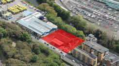An aerial view of the site at Conyngham Road in Dublin