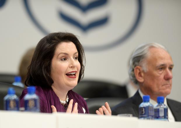 Francesca McDonagh, Bank of Ireland CEO, released a wide-ranging strategy plan yesterday to investors in London. Picture: Caroline Quinn