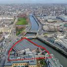 An aerial view of the Hickeys site at Parkgate Street in Dublin 8 close to Heuston Station
