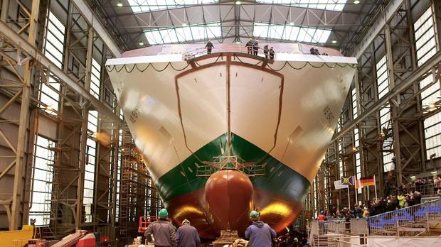 The €154m WB Yeats being built at German shipyard Flensburger Schiffbau-Gesselschaft