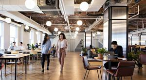 The interior of WeWork's office space at Herald Square in New York City