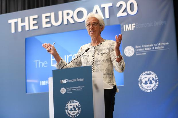 IMF managing director Christine Lagarde speaks at the Central Bank of Ireland and IMF Economic Review conference 'The Euro at 20' in Dublin yesterday. She warned that more Eurozone integration is needed to protect the bloc. Photo: Conor McCabe Photography