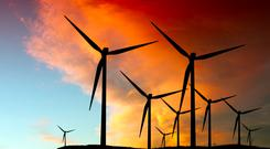 Wind farms help green targets. Stock image