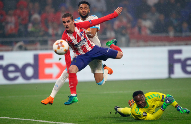 Atletico Madrid's Antoine Griezmann scores his side's second goal of the game during the Uefa Europa League final. TV3/Virgin has secured European football rights, including the finals, for the next three years Photo: PA