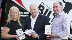 Sean Gallagher with John and Noreen Doyle of Irish Biltong. Photo David Conachy