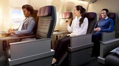 A projection of how the new international premium economy cabin will look like on United Airlines