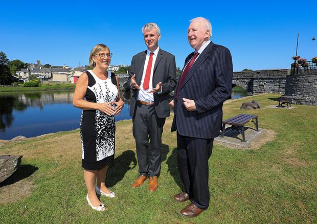 Fexco CEO Denis McCarthy, Enterprise Ireland CEO Julie Sinnamon and Founder of Fexco Brian McCarthy. Photo: Valerie O'Sullivan