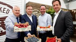 Colm Bury, managing director of Keelings Select; Daragh Feighery, general manager Center Parcs Longford Forest; Kevin O'Leary, account manager Keelings Select; and Eddie McAdam, group food, beverage and retail manager for Center Parcs