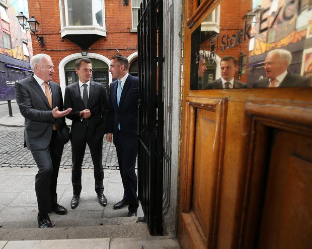 Ronan Murphy, chairman of Greencoat Renewables, with Bertand Gautier and Paul O'Donnell, partners of Greencoat Capital, Investment Manager outside the Irish Stock Exchange last year on the company's first day of trading on the AIM market